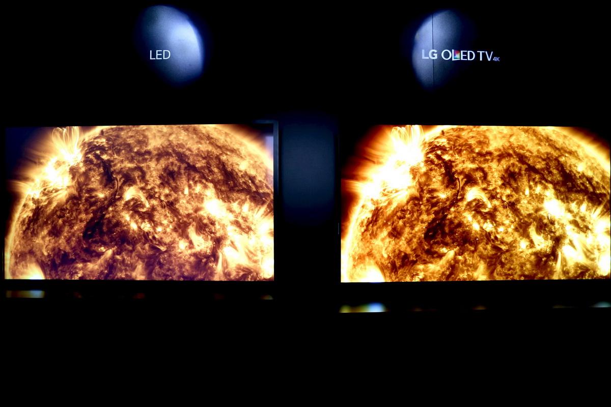 OLED与LED电视的对比,OLED对于黑色场景的表现更为突出,色彩更为鲜艳,细节还原度更高_exp